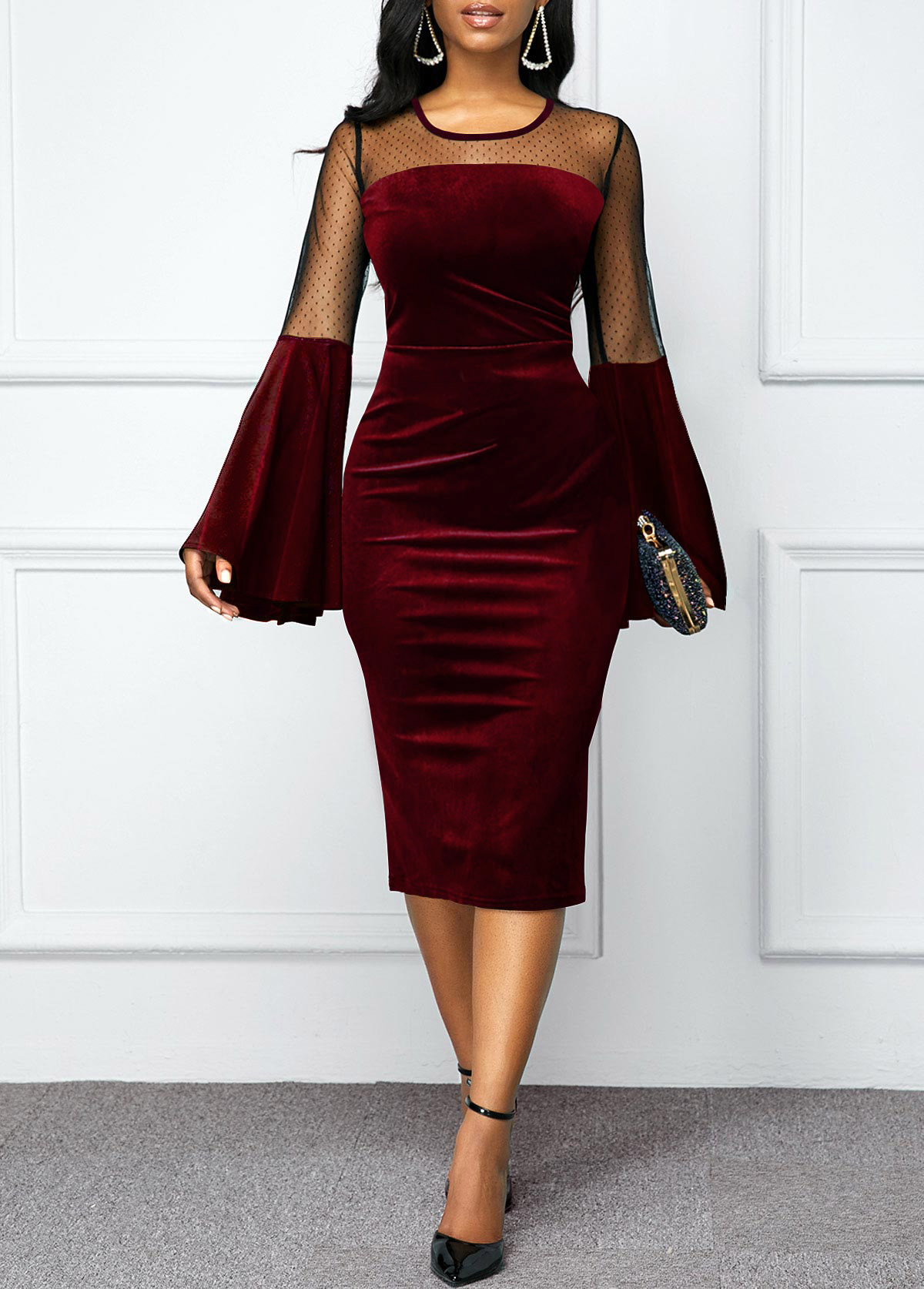 Flare Sleeve Round Neck Mesh Panel Velvet Dress