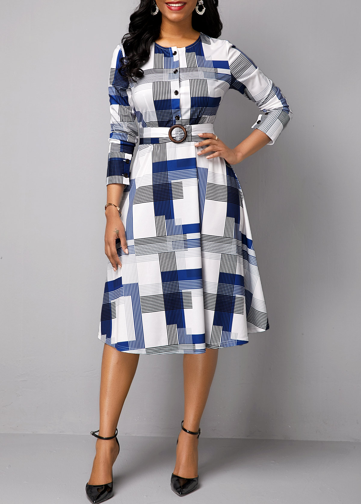ROTITA Long Sleeve Belted Button Detail Print Dress