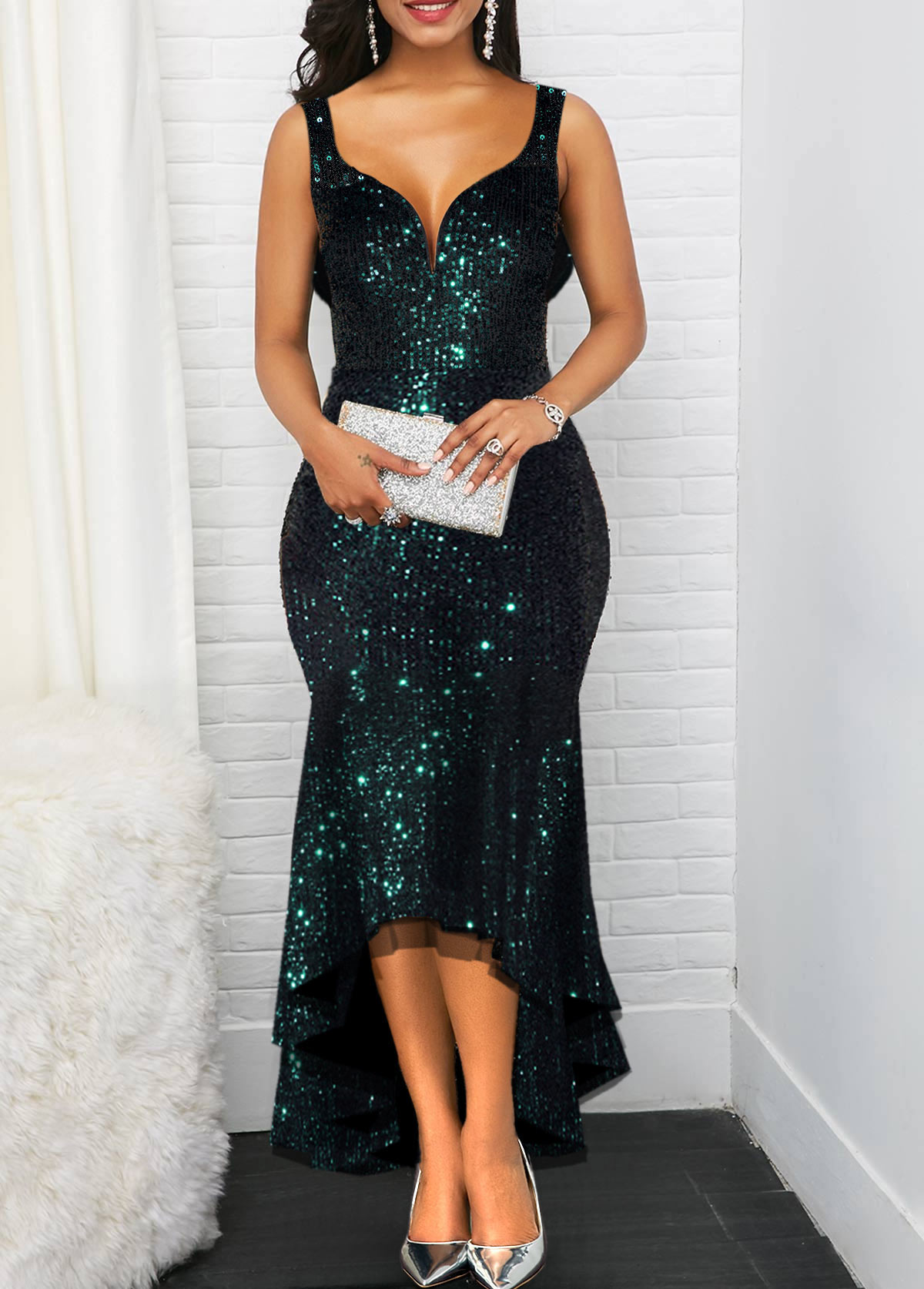 Cowl Back Sequin Detail High Low Dress
