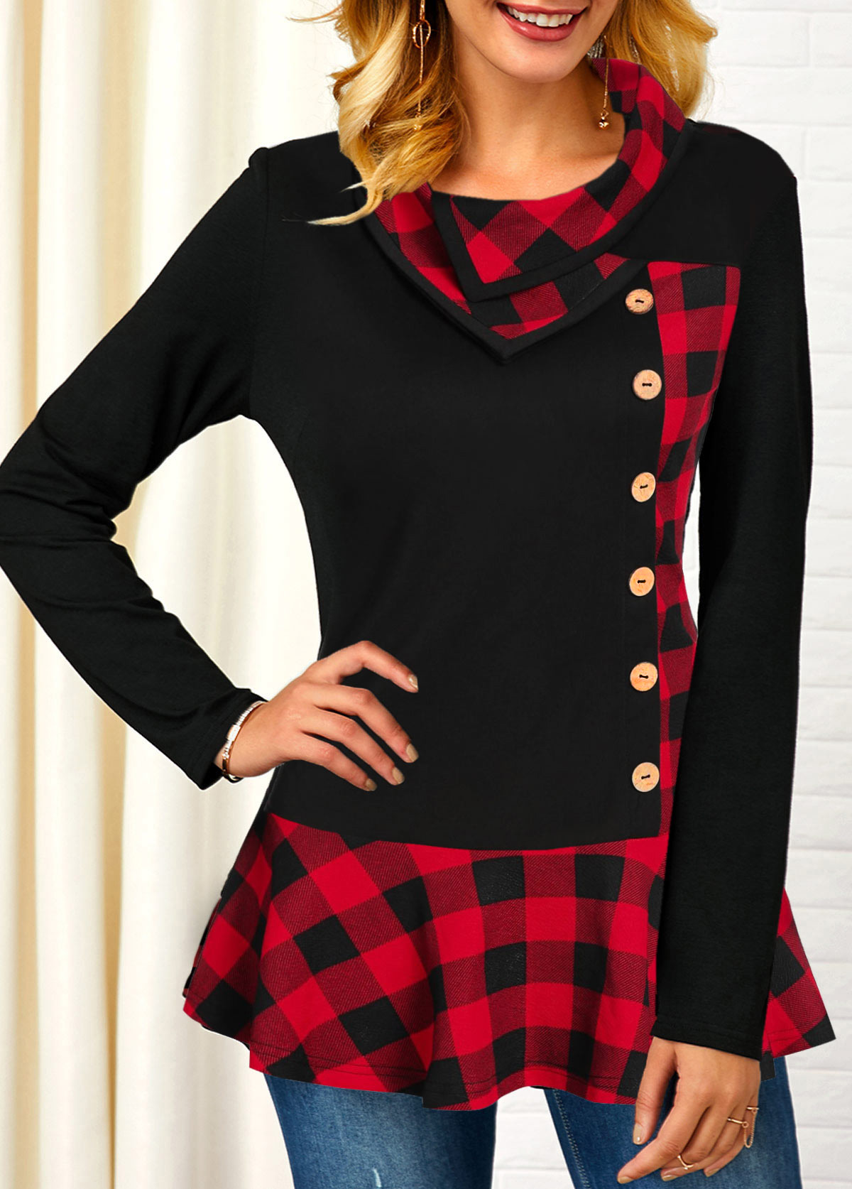 ROTITA Button Detail Long Sleeve Plaid Print T Shirt
