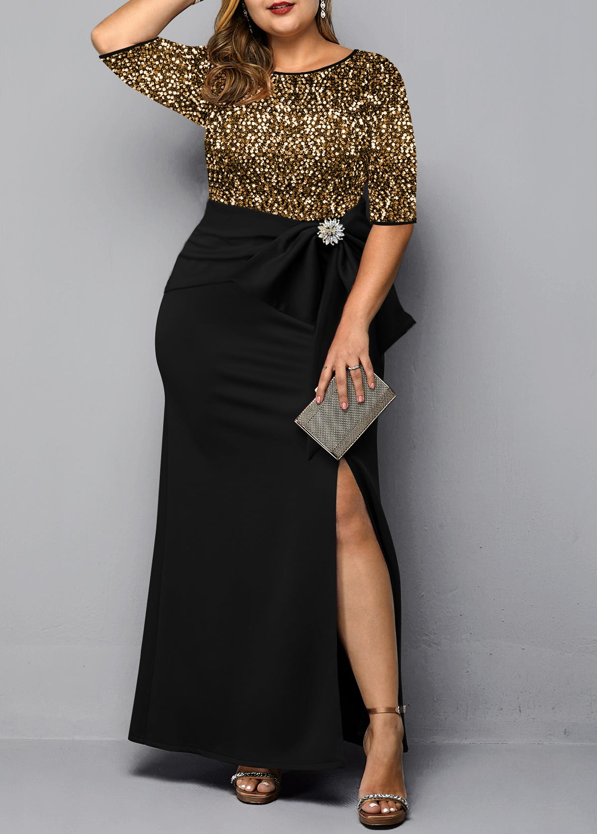 Plus Size Side Slit Sequin Detail Maxi Dress