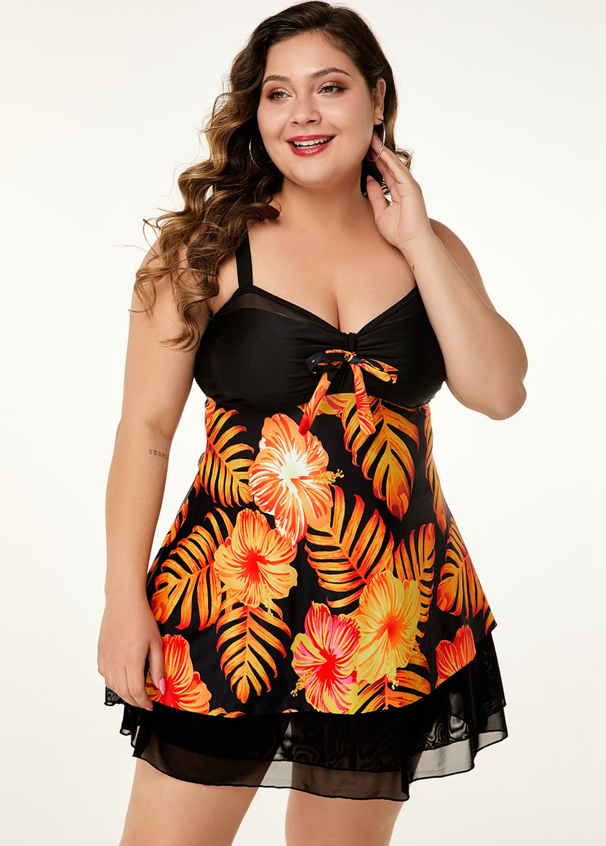 Flower Print Plus Size Mesh splicing Swimdress and Shorts