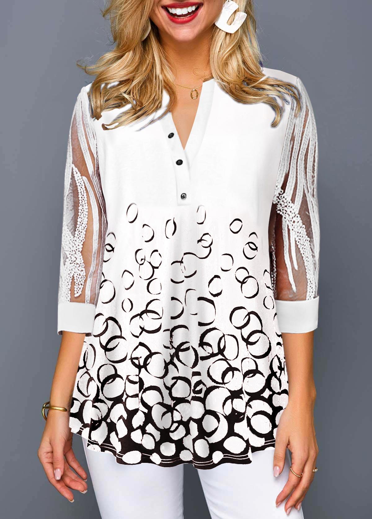 Geometric Print Split Neck Lace Sleeve T Shirt