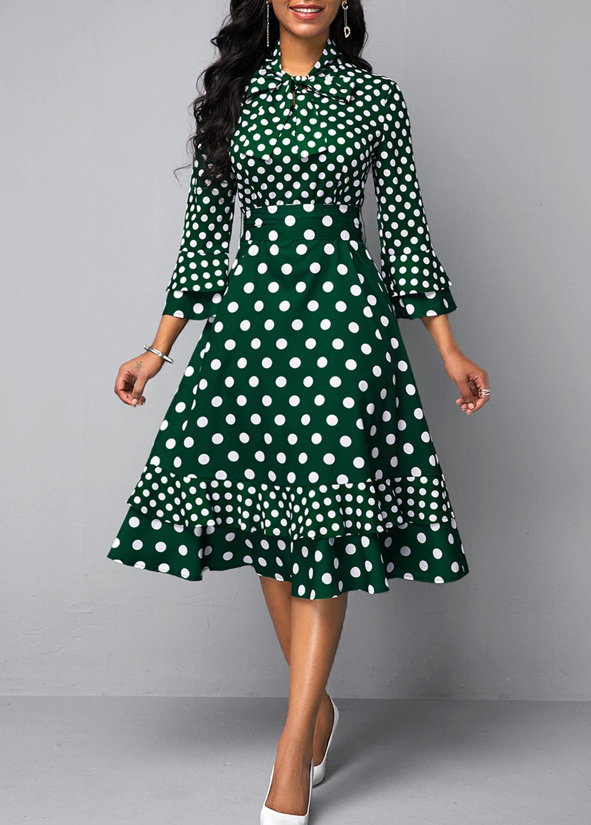 Bowknot Detail Layered Bell Sleeve Dot Print Dress
