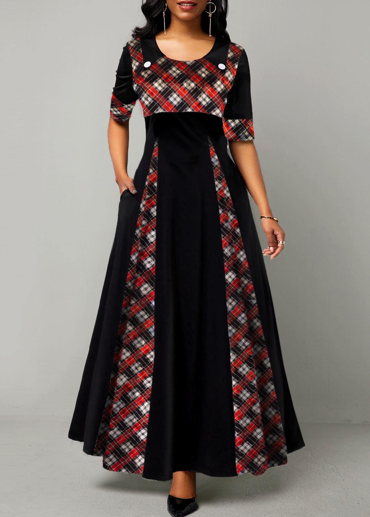 Plaid Print Half Sleeve Round Neck Maxi Dress
