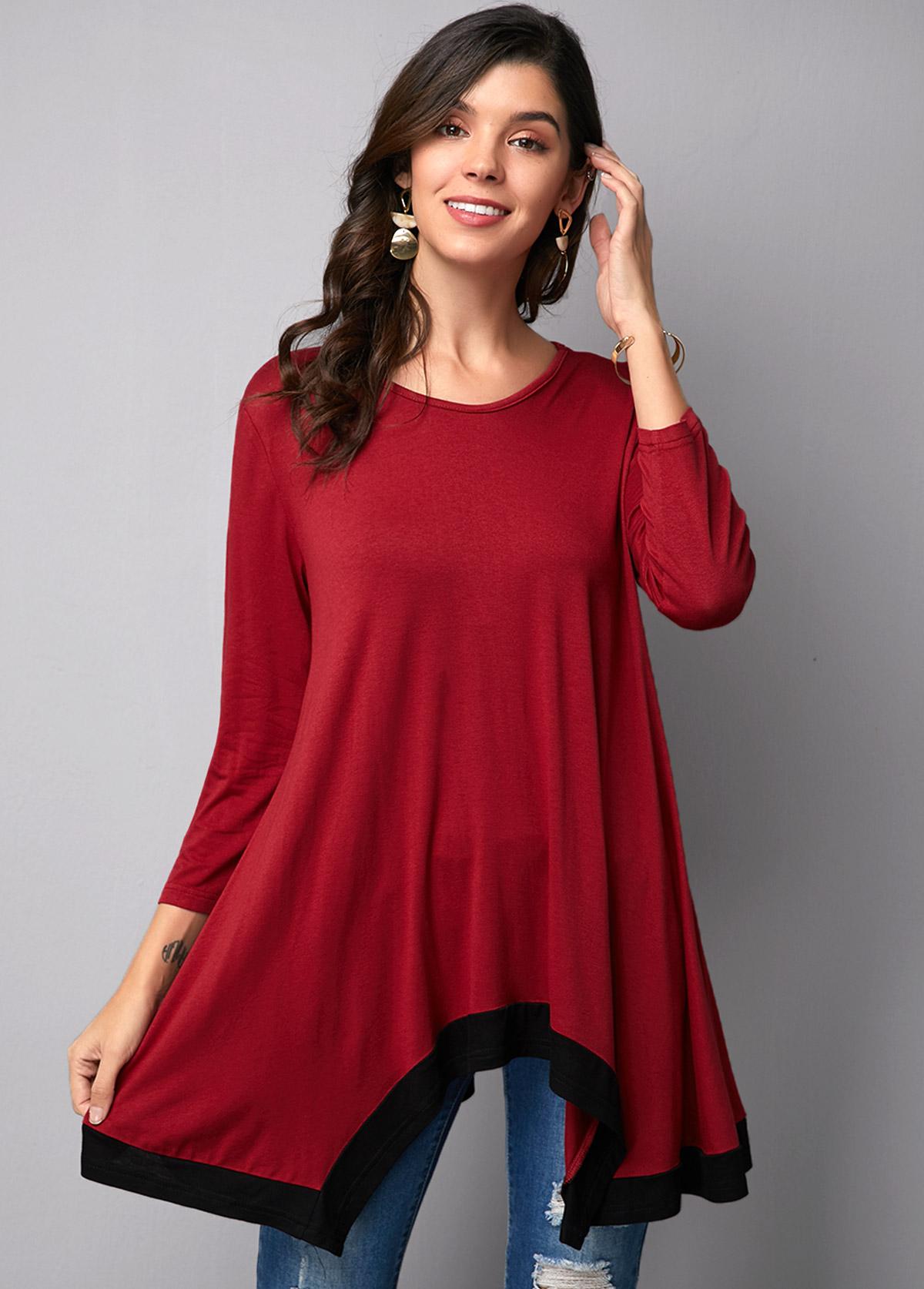 Round Neck Wine Red Asymmetric Hem T Shirt