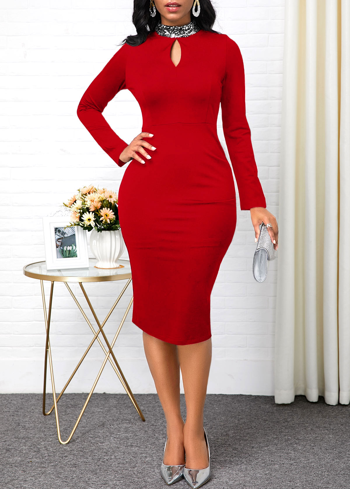 ROTITA Keyhole Neckline Red Long Sleeve Sheath Dress
