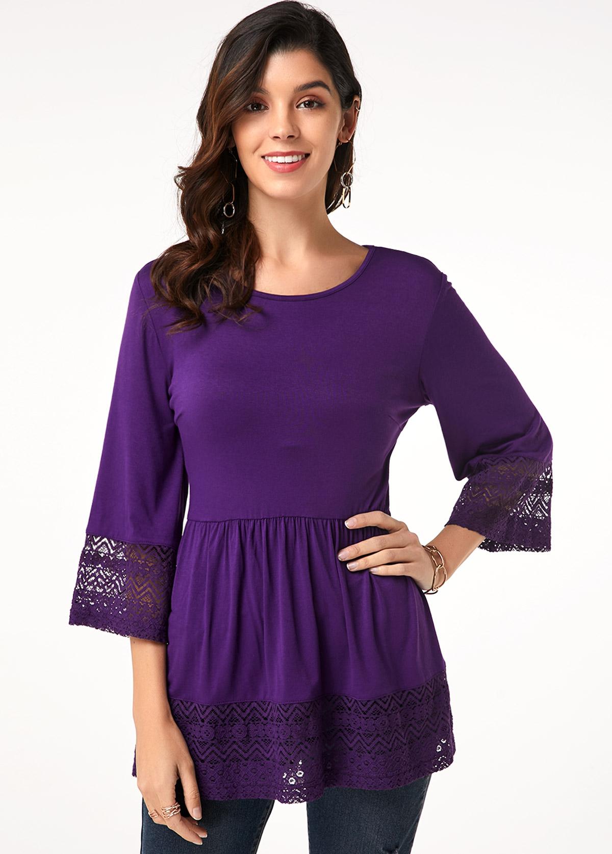 Lacel Panel Purple Flare Sleeve T Shirt