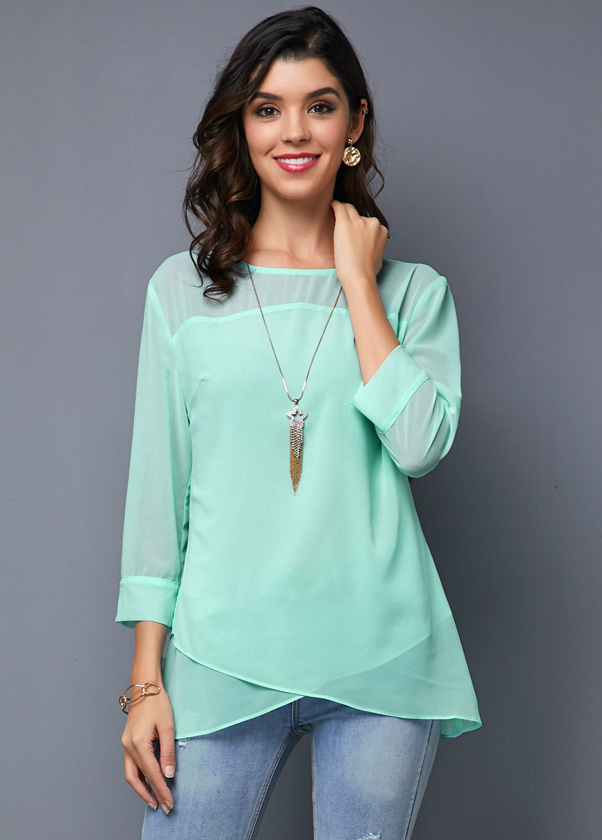 ROTITA Crossover Hem Three Quarter Sleeve Light Blue T Shirt