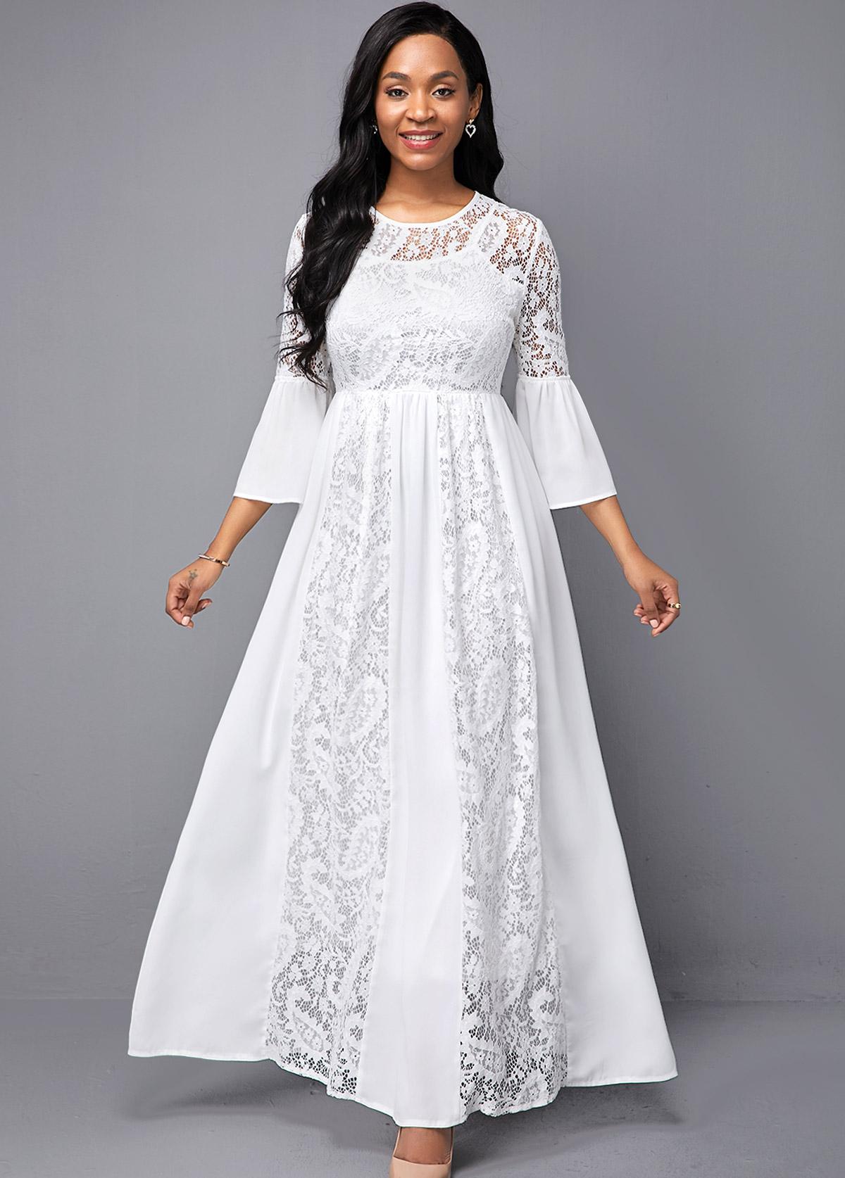 ROTITA Lace Patchwork Round Neck High Waist Dress