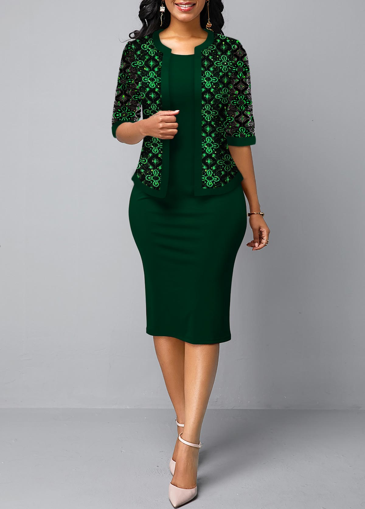 Dark Green Open Front Lace Cardigan and Sheath Dress