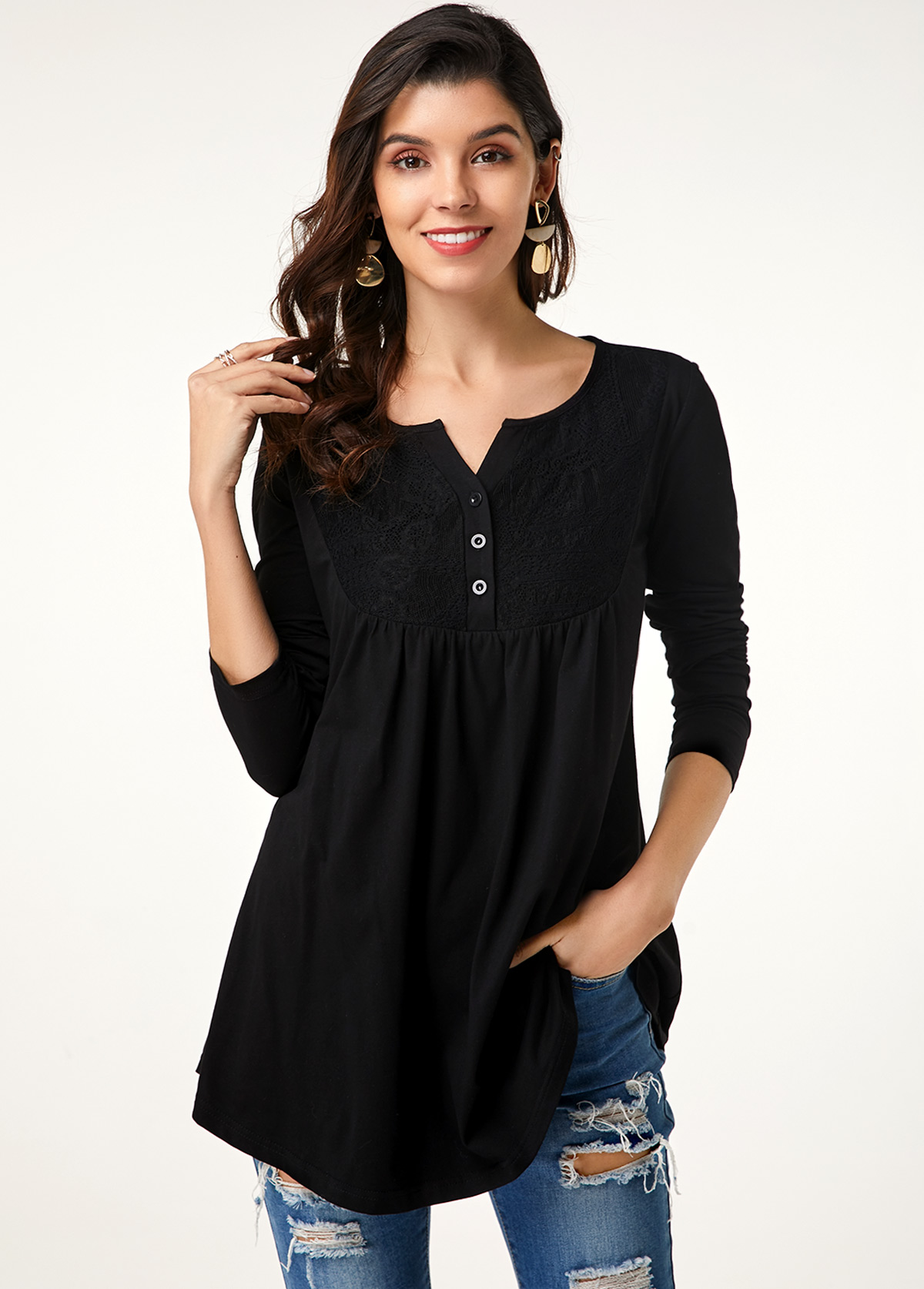 Lace Stitching Long Sleeve Button Up T Shirt