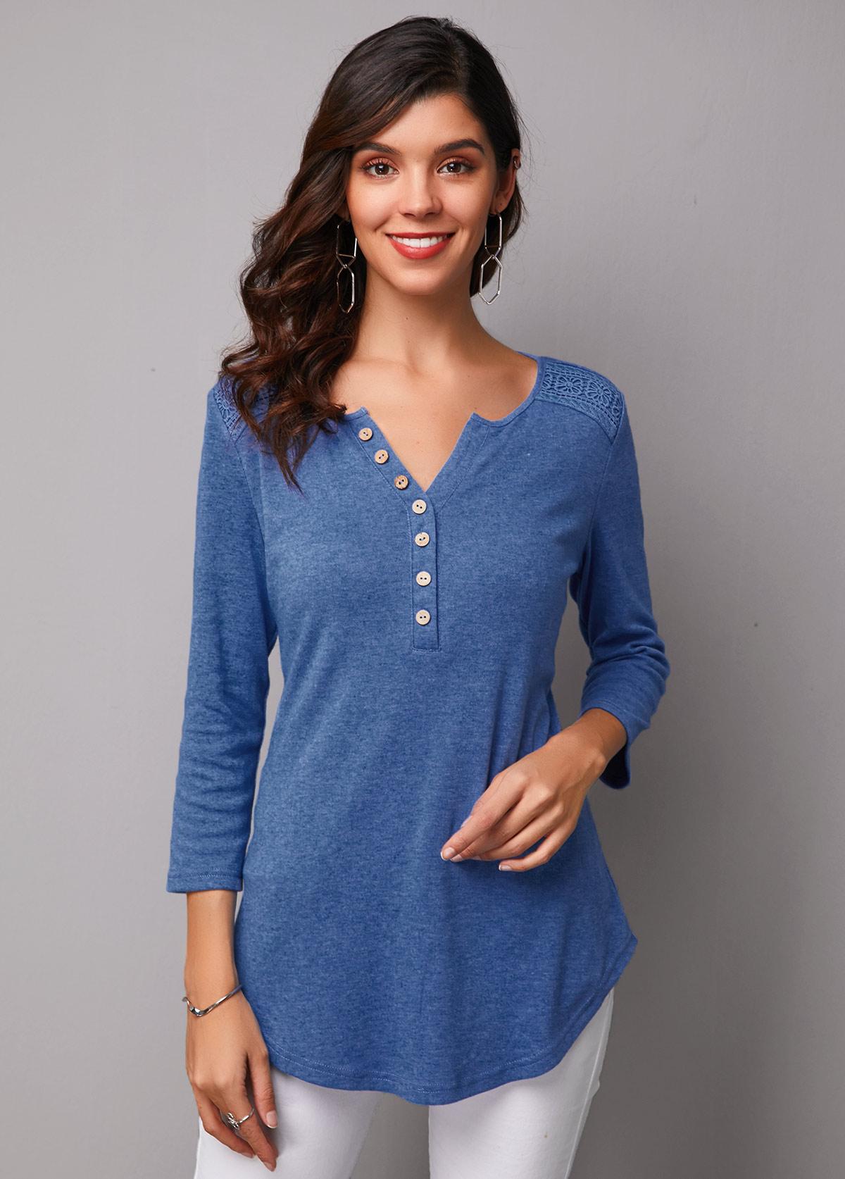 Asymmetric Hem Three Quarter Sleeve Button Up T Shirt
