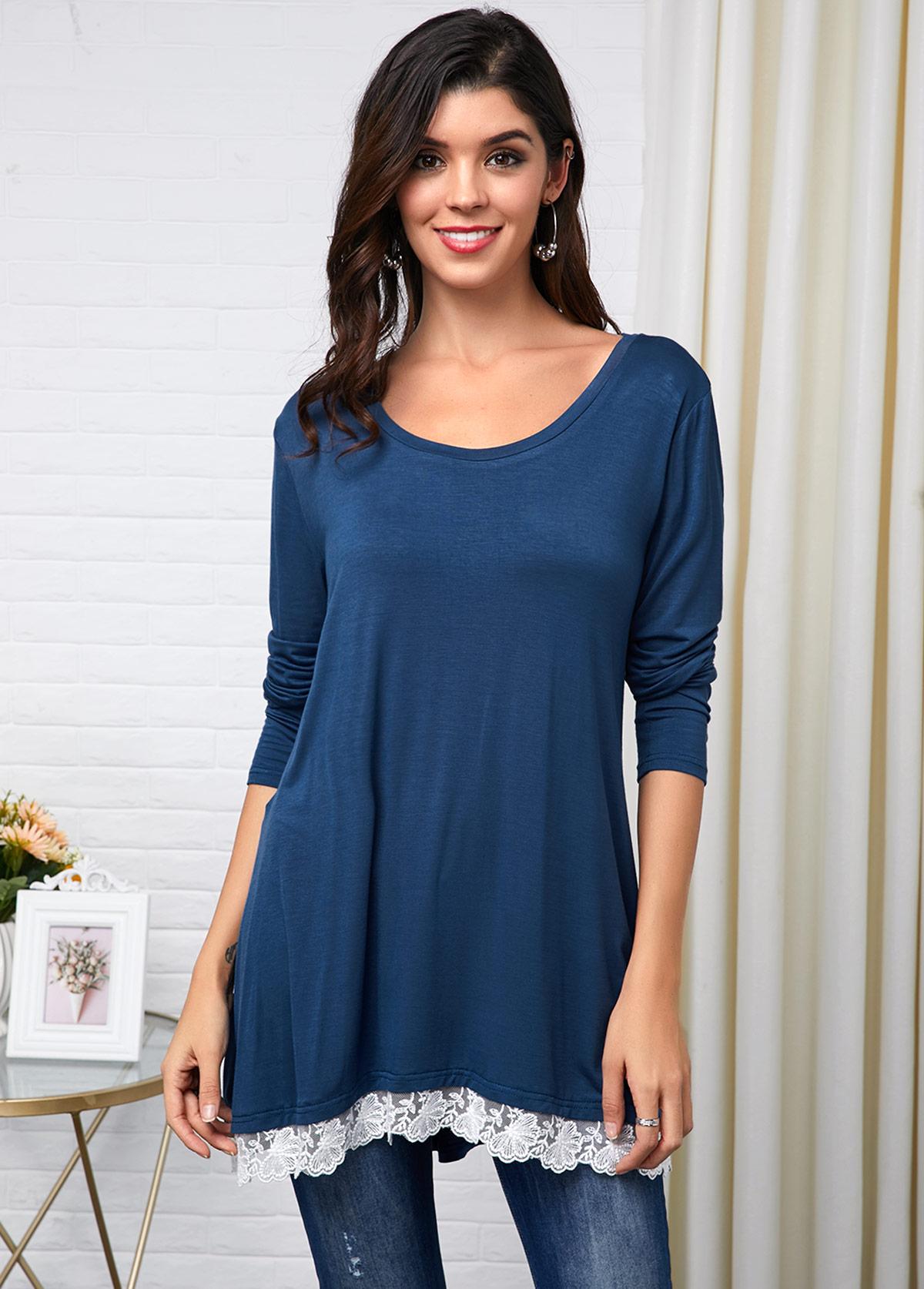 Lace Panel Long Sleeve Peacock Blue T Shirt