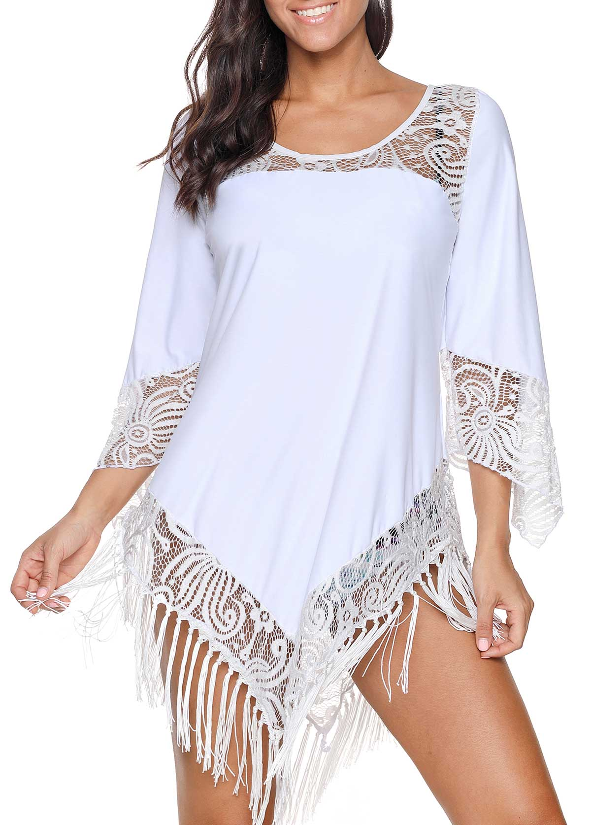 Tassel Hem White Lace Panel Cover Up