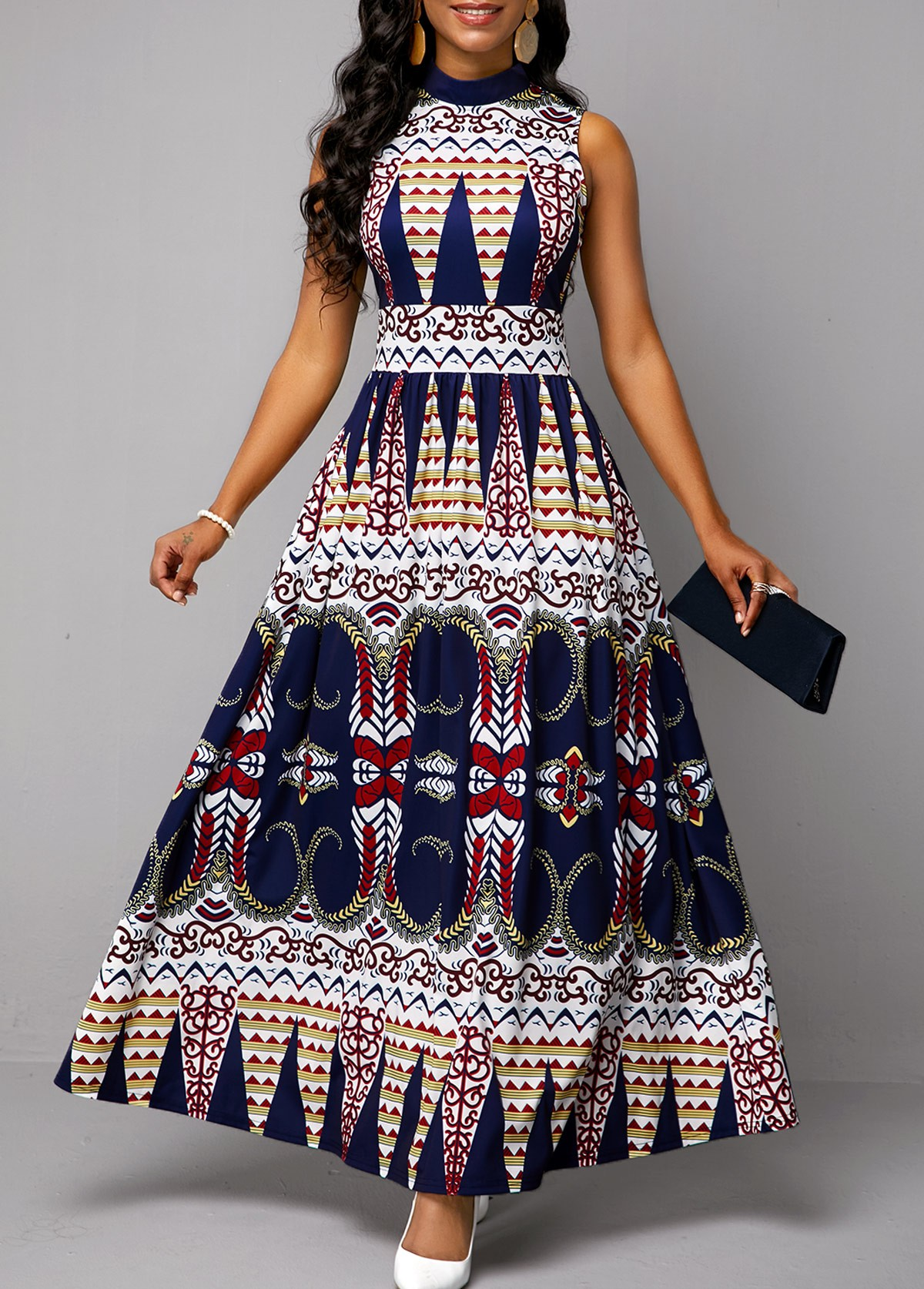 Tribal Print Sleeveless Mock Neck Maxi Dress