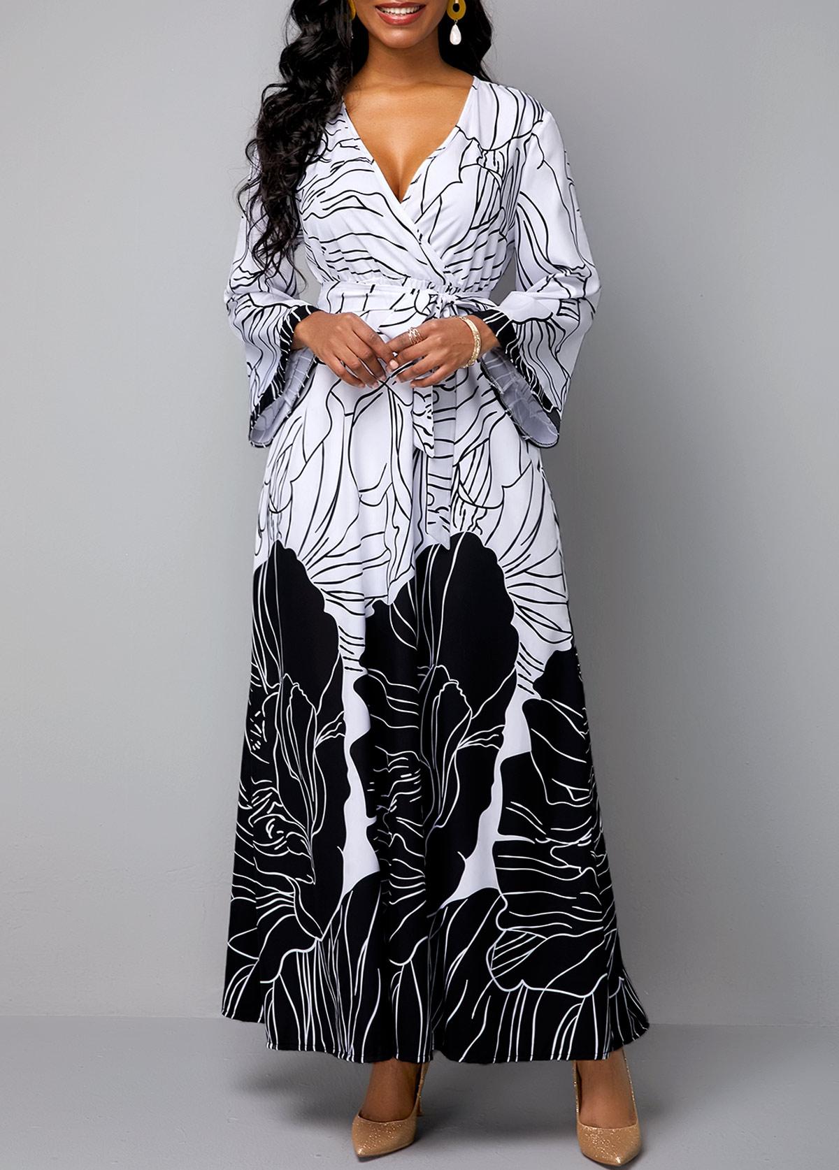 V Neck Belted Flower Print Maxi Dress