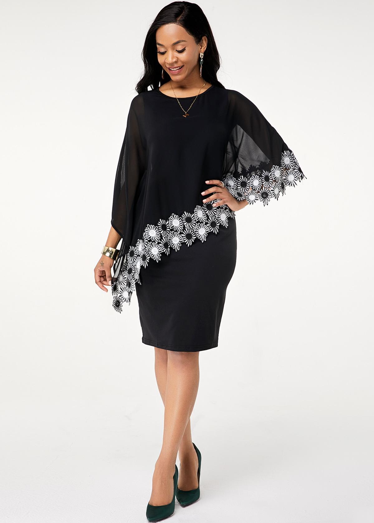 Round Neck Batwing Sleeve Chiffon Dress