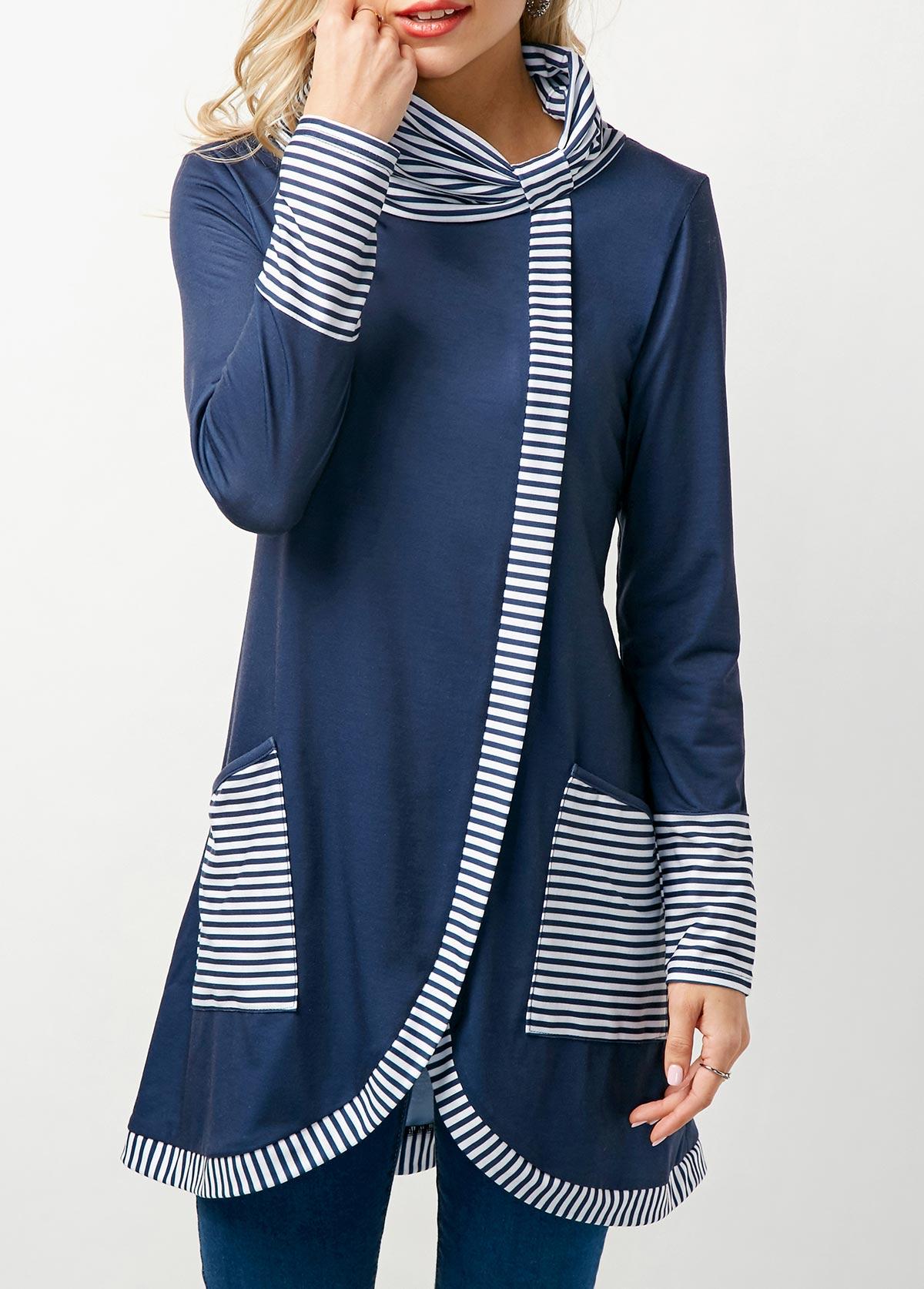 Striped Tulip Hem Pocket Detail T Shirt