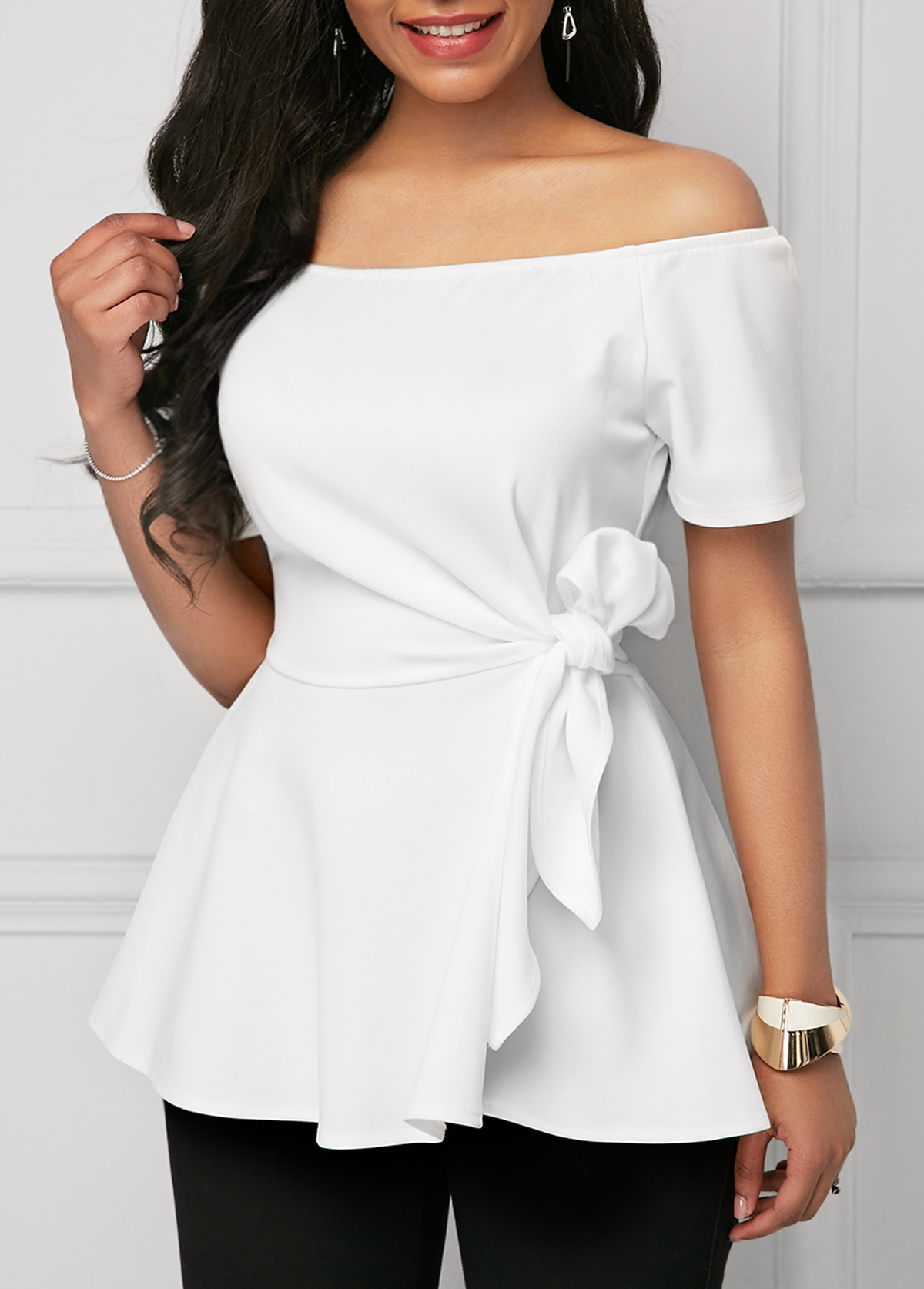 Off the Shoulder White Tie Side Blouse