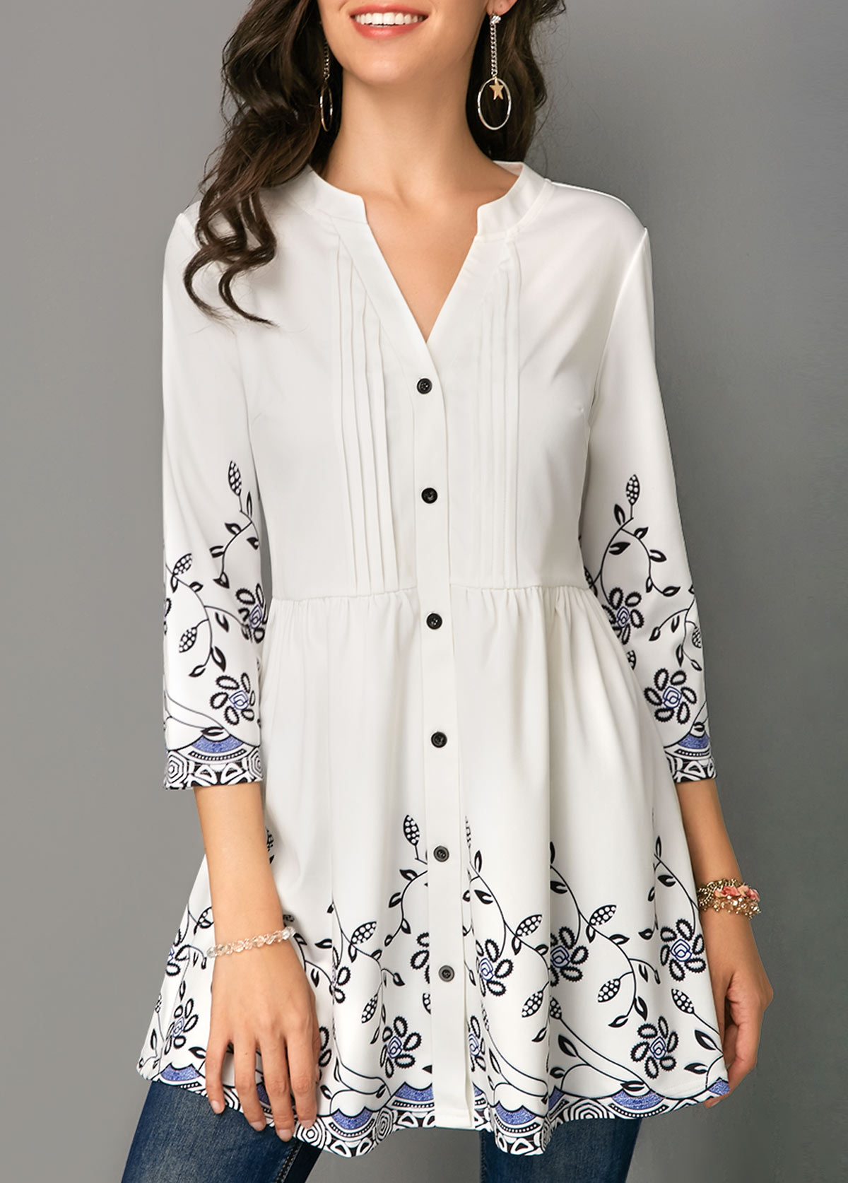 Button Up Printed Crinkle Chest Blouse