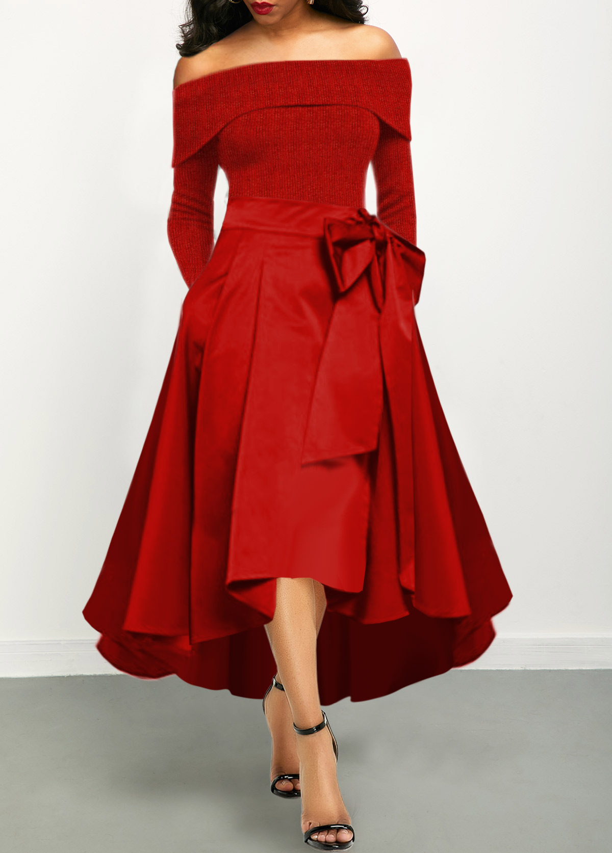 Off the Shoulder Red Bowknot Detail Maxi Dress