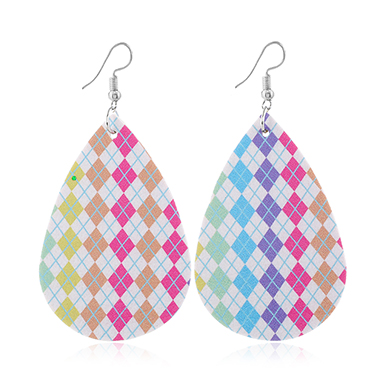 Faux Leather Printed Multi Color Earrings