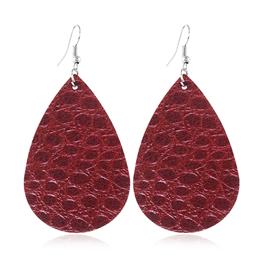 Plastic Teardrop Shaped Wine Red Earring Set