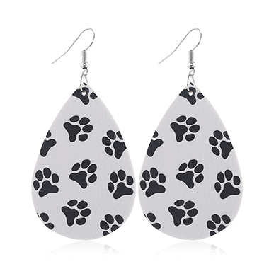 Dog Paw Print Faux Leather White Earring Set