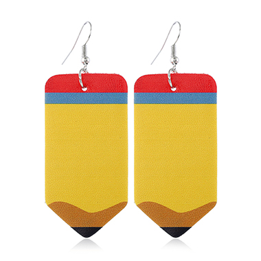 Pencil Shape Faux Leather Earrings for Lady