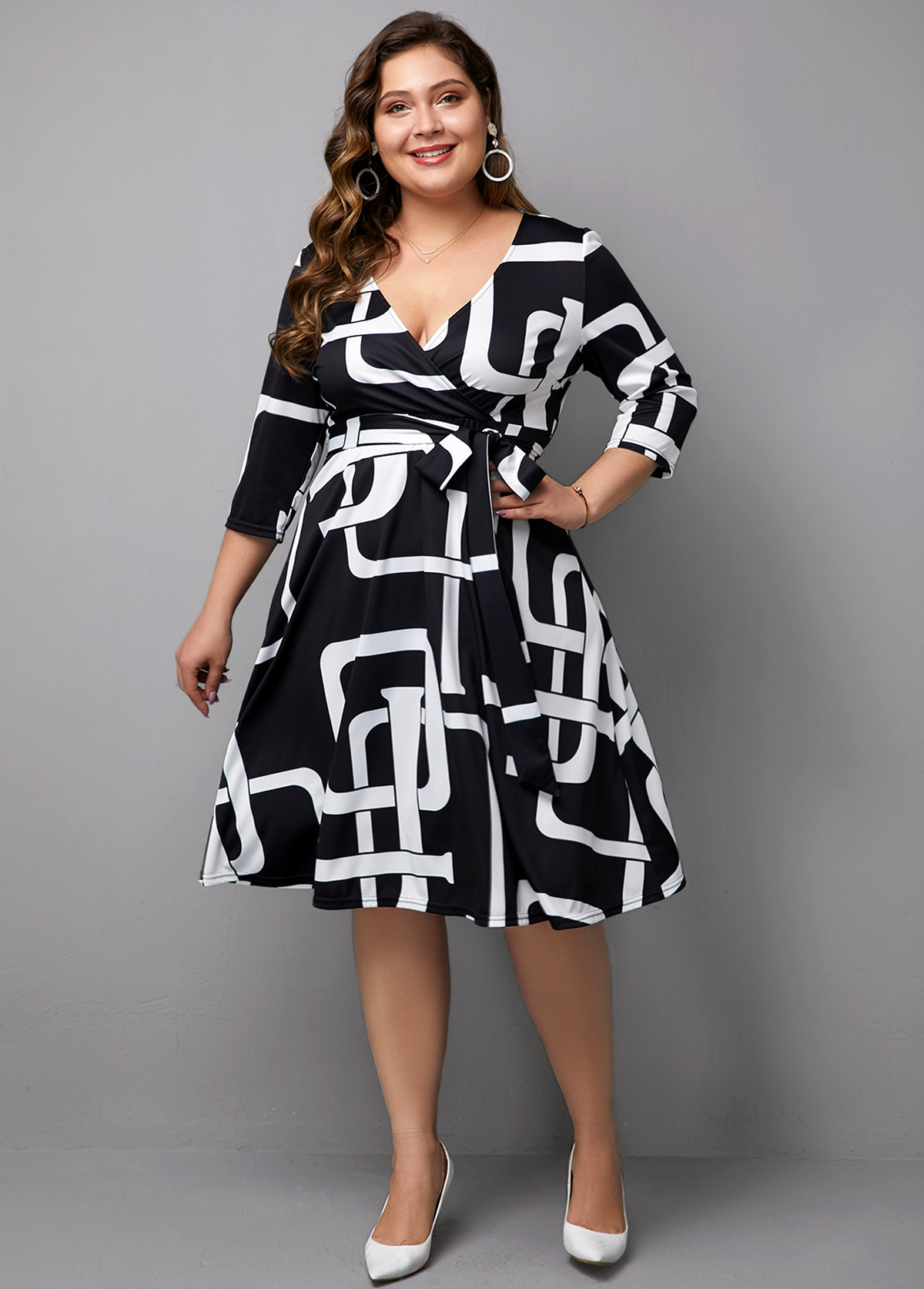 ROTITA Plus size Printed Three Quarter Sleeve V Neck Dress