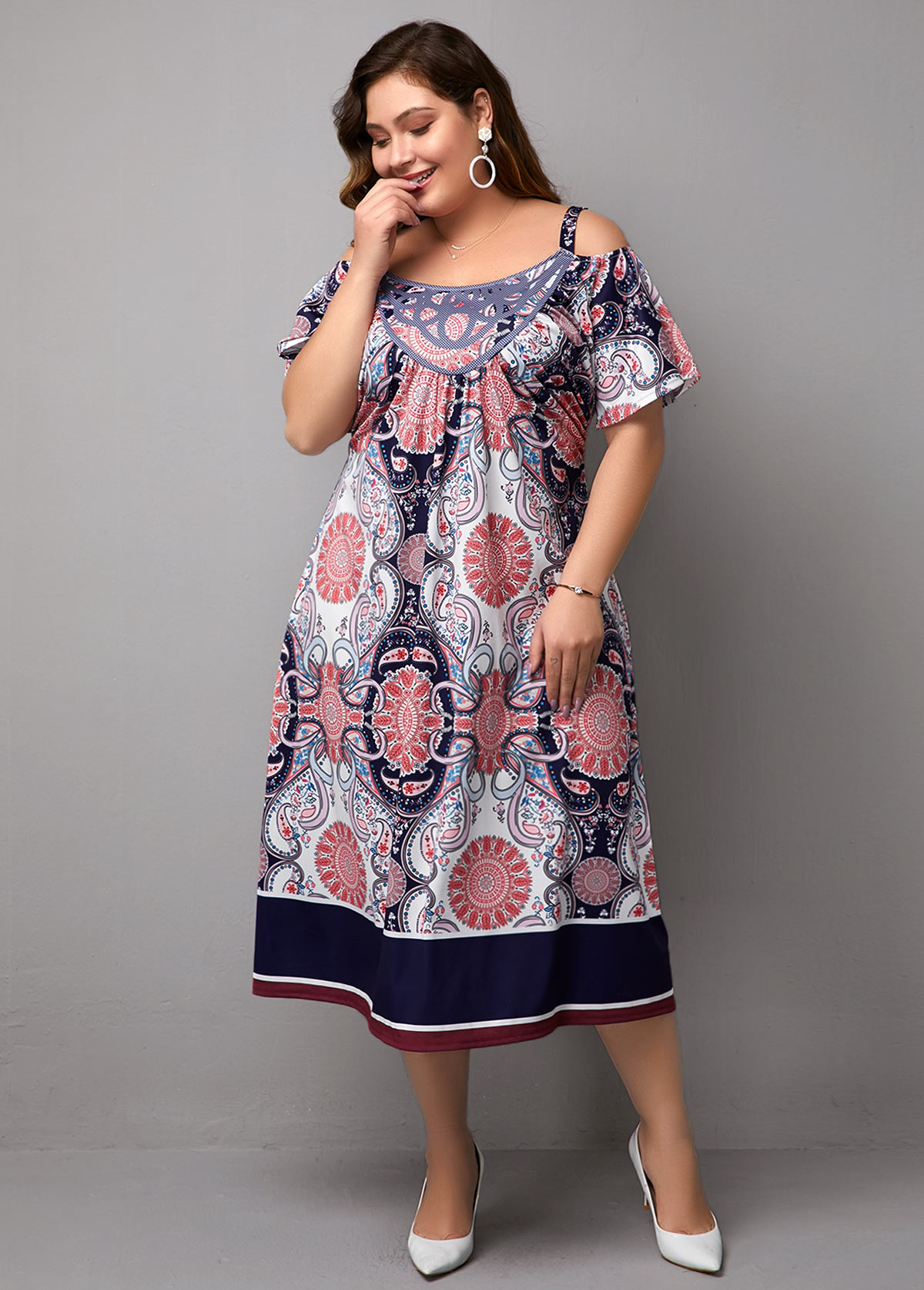 ROTITA Printed Plus Size Cold Shoulder Dress