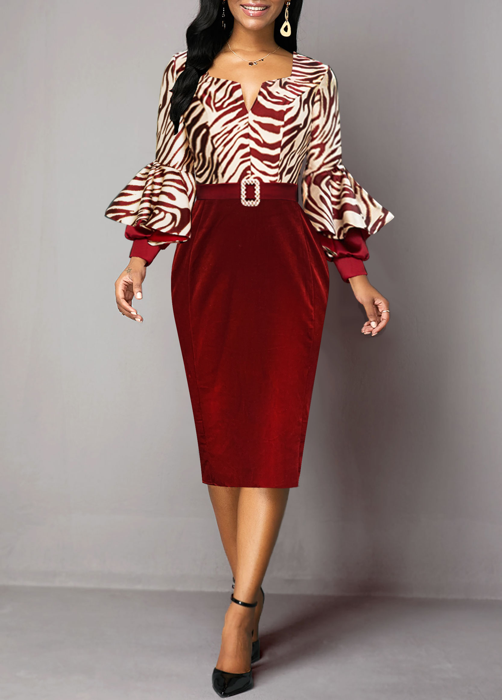 Zebra Print Long Sleeve Buckle Belted Sheath Dress