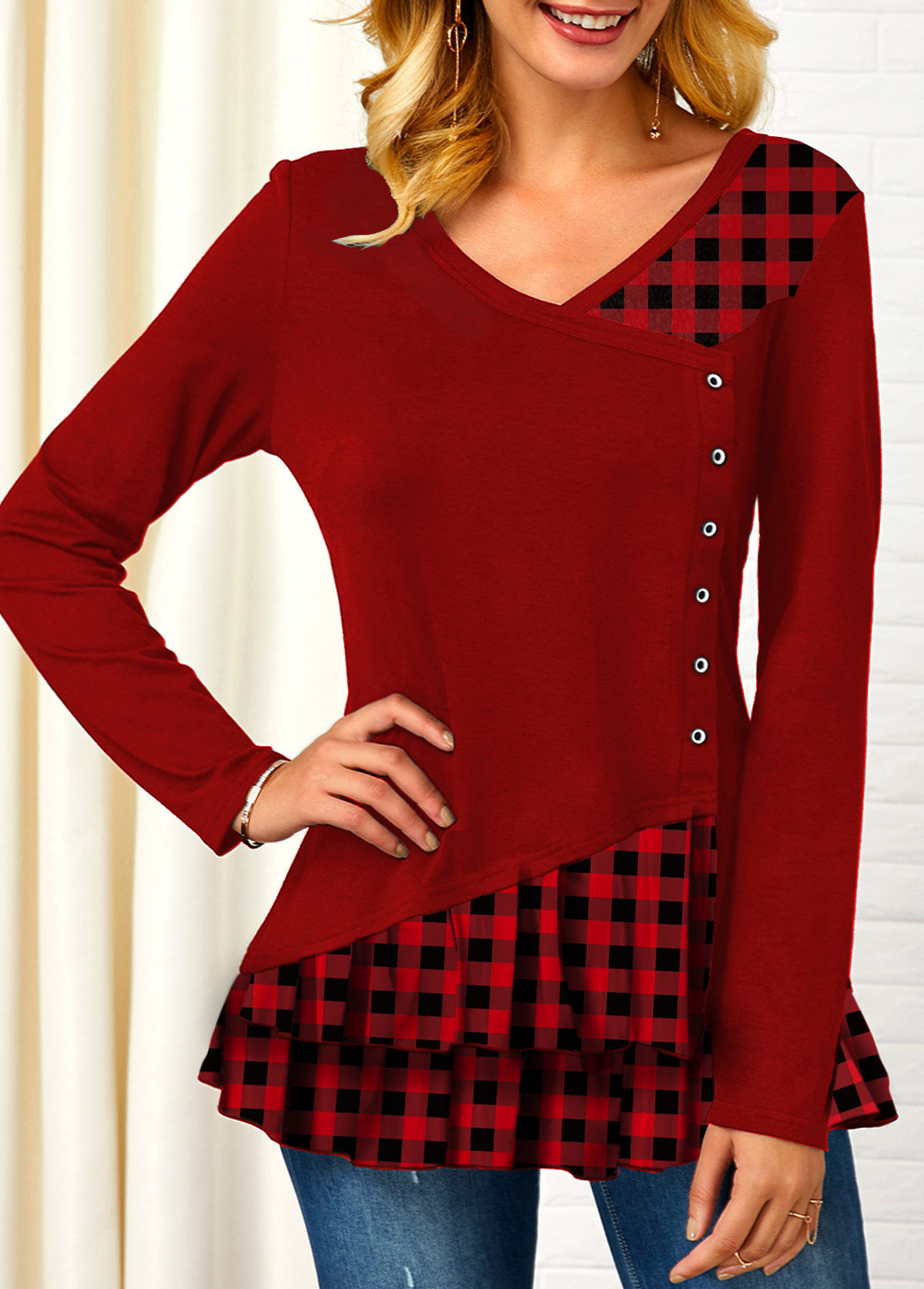 V Neck Plaid Print Button Detail T Shirt