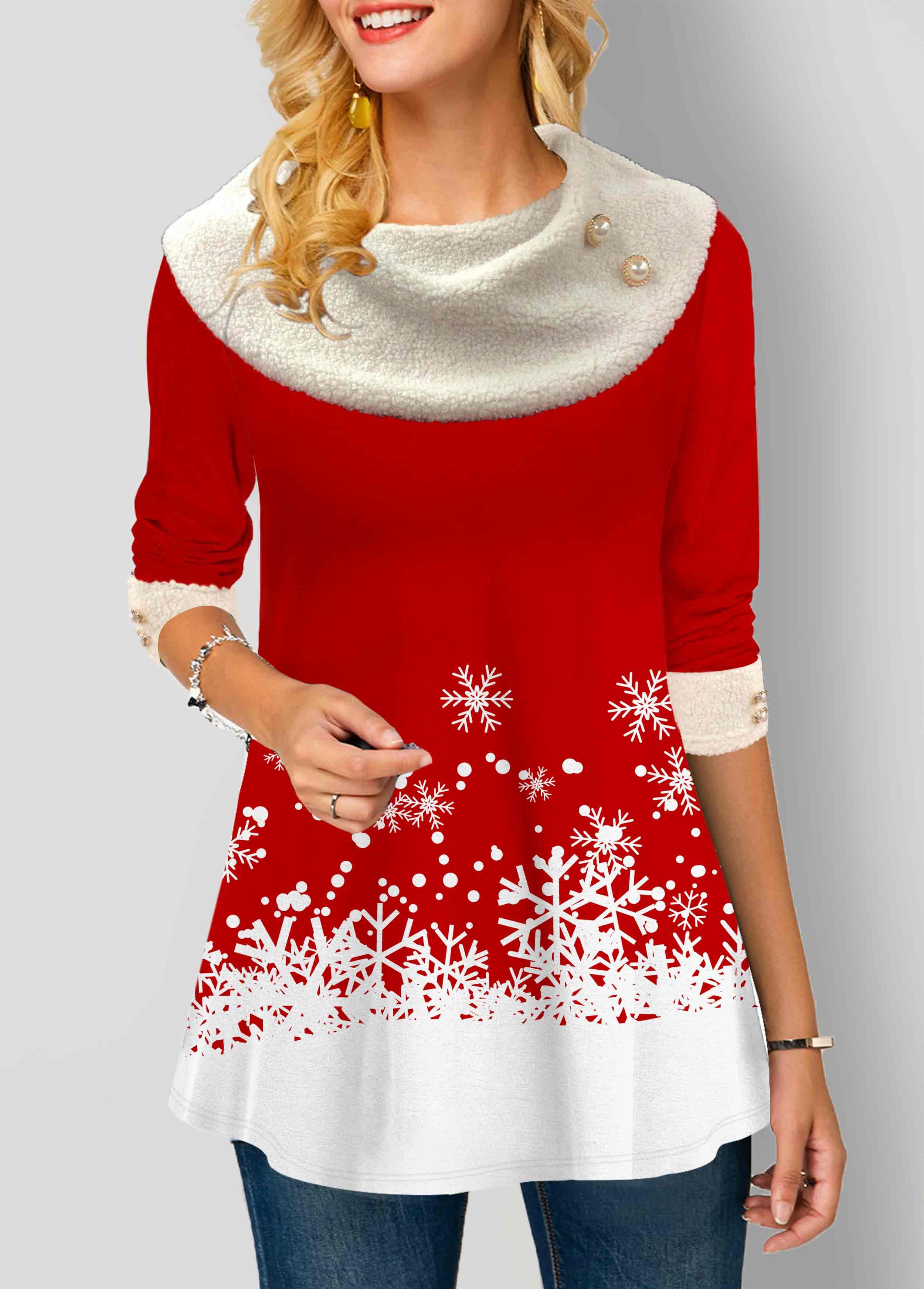 ROTITA Snowflake Print Contrast Panel Long Sleeve T Shirt