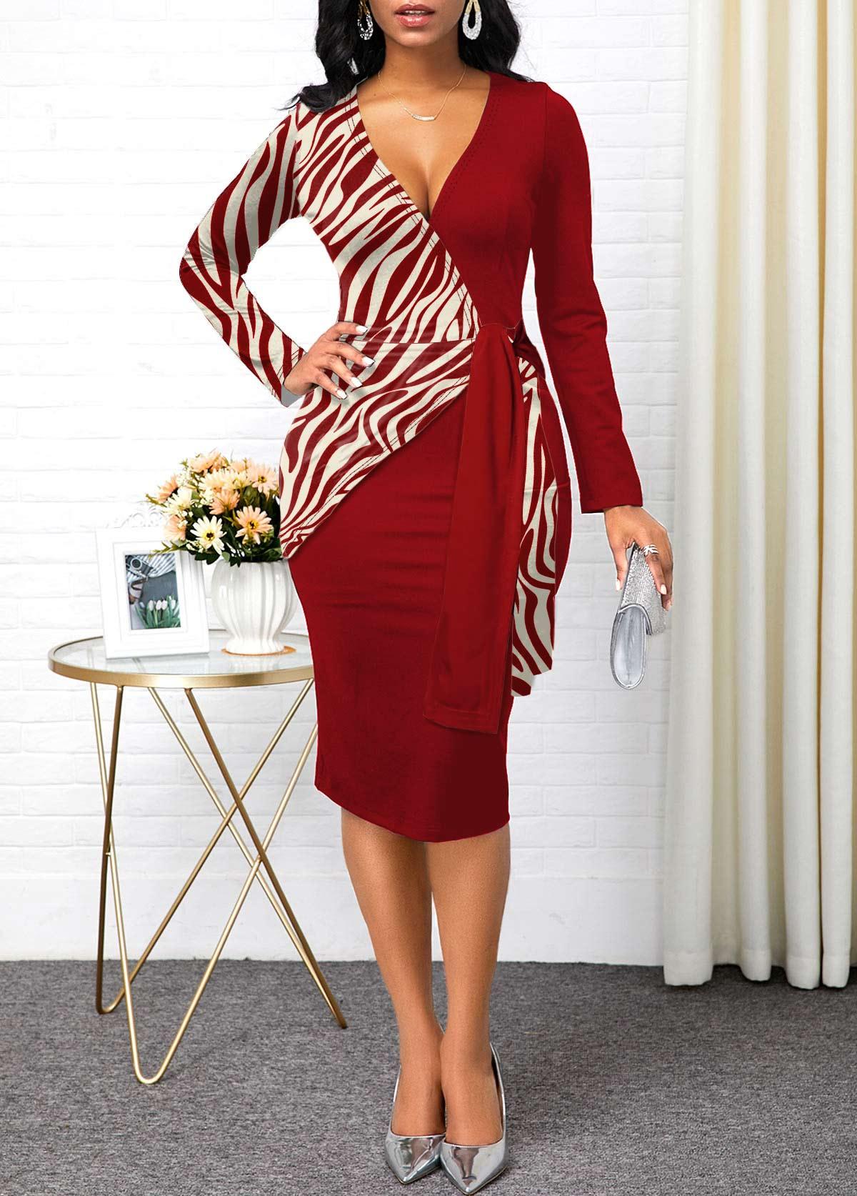 Zebra Print Long Sleeve Plunging Neck Dress
