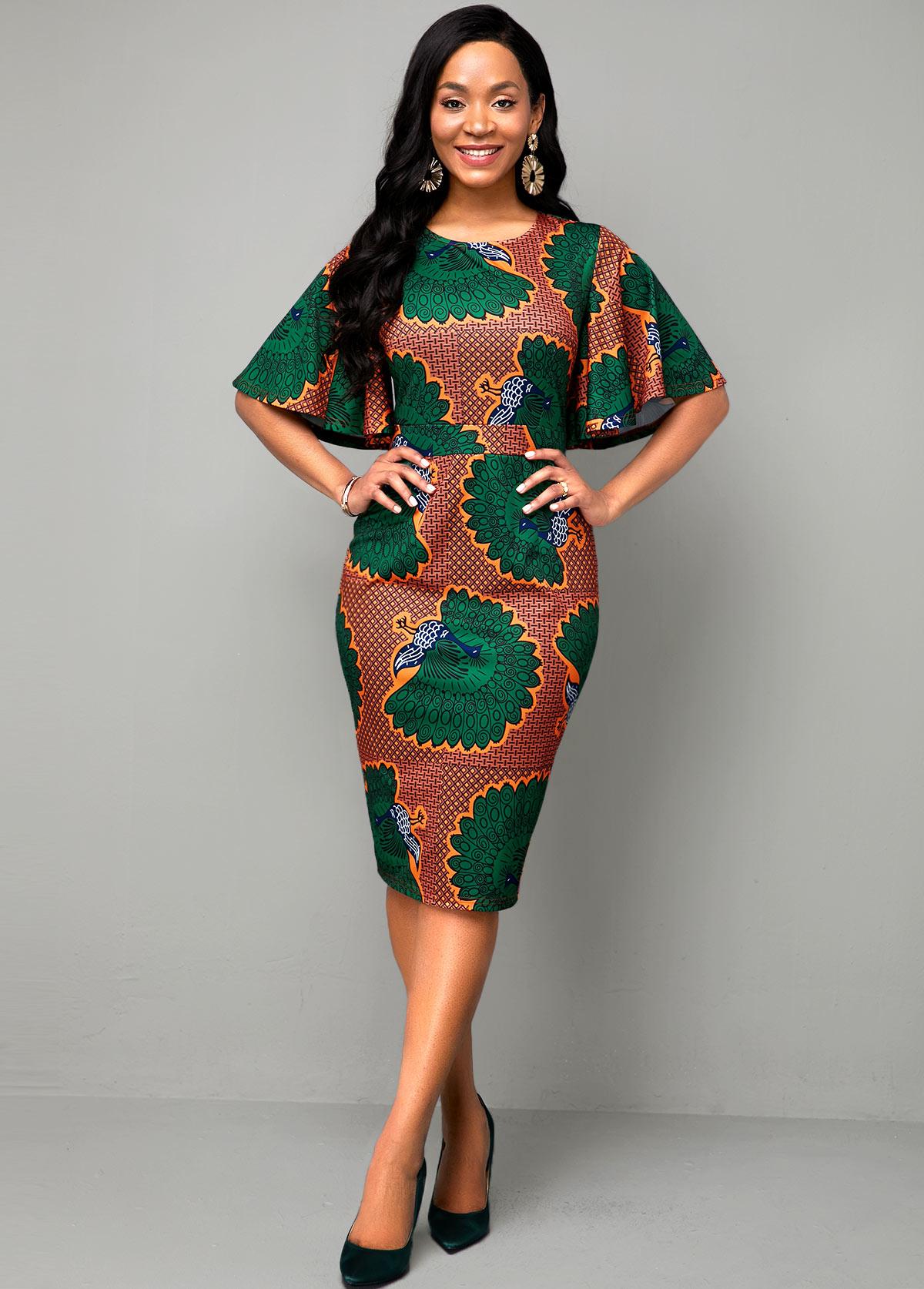 Round Neck Multi Color Ethnic Print Dress
