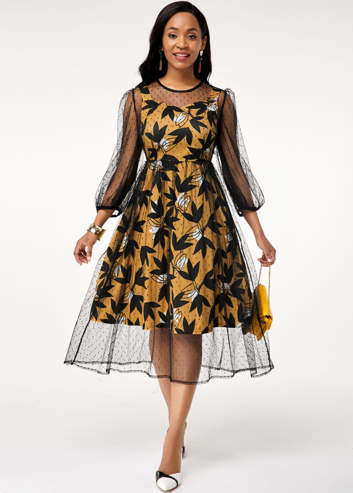 Three Quarter Sleeve Mesh Round Neck Dress