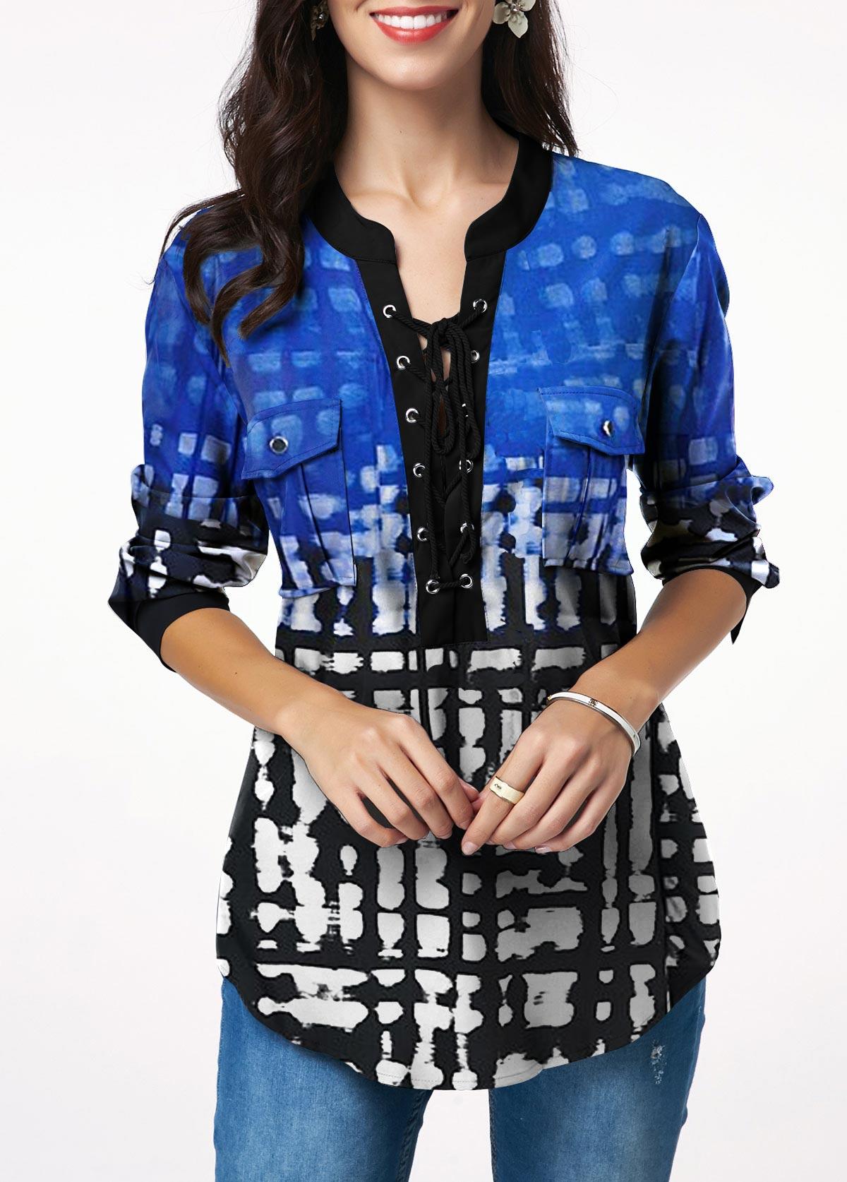 ROTITA Lace Up Printed Chest Pocket T Shirt