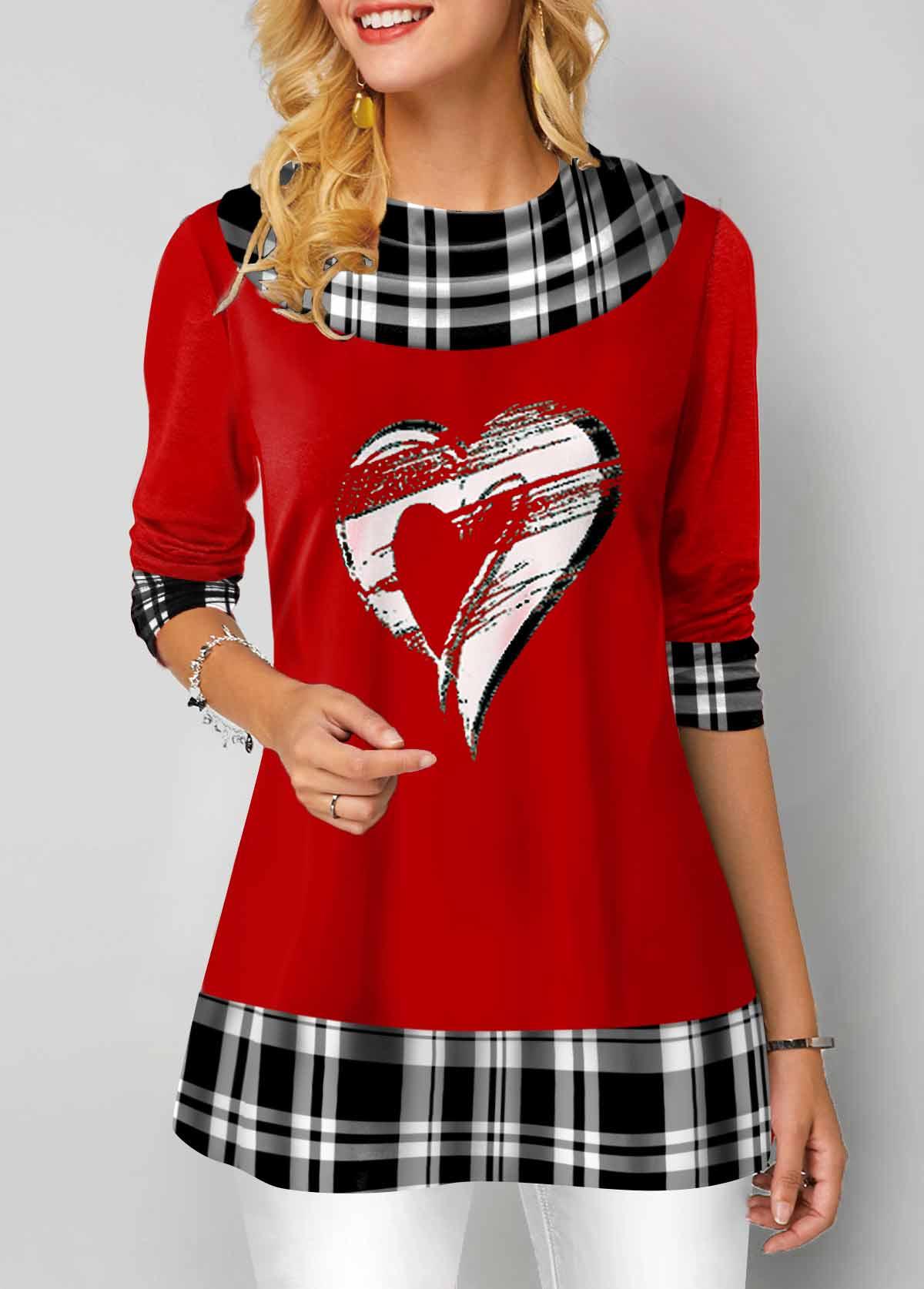 Long Sleeve Heart and Plaid Print T Shirt
