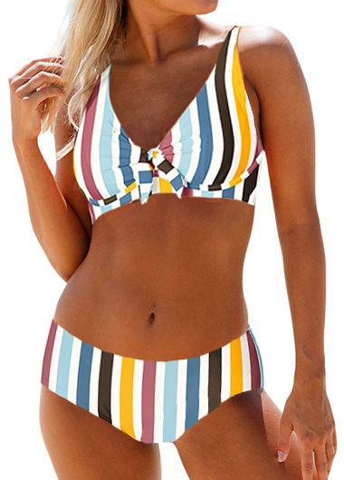 Multi Stripe Spaghetti Strap Knot Detail Bikini Set