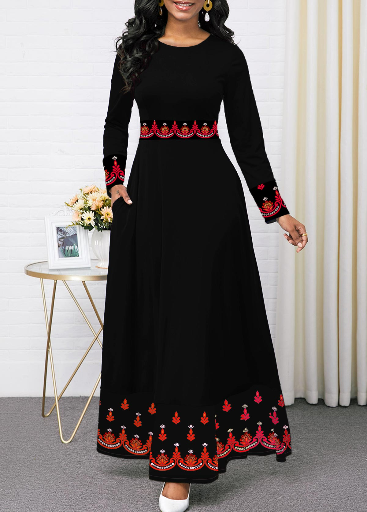 Black Printed Long Sleeve Round Neck Dress