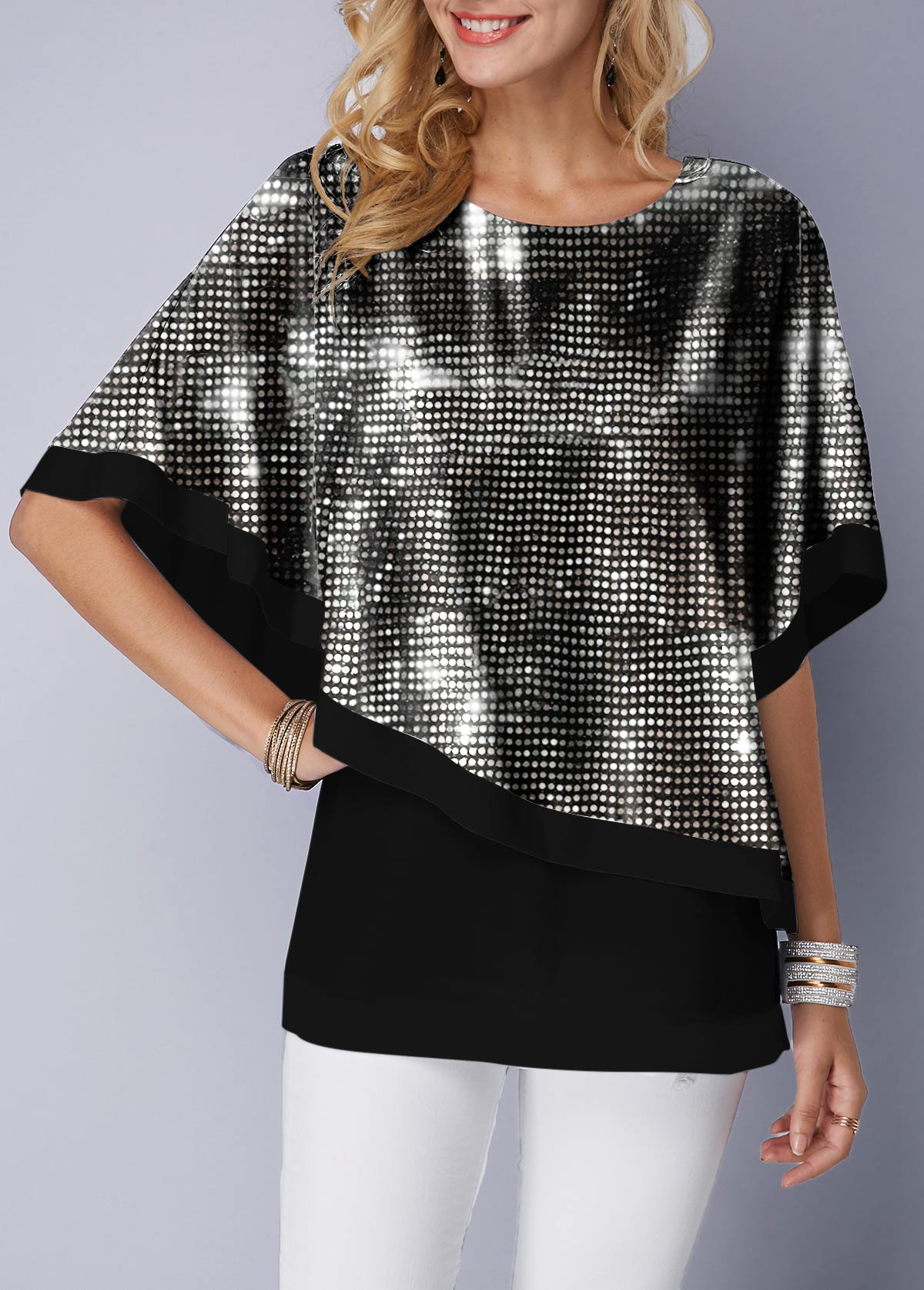 Round Neck Black Tank Top and Sequin Cape T Shirt