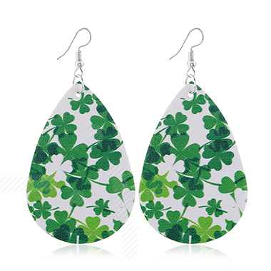 Faux Leather Green Clover Design Earrings