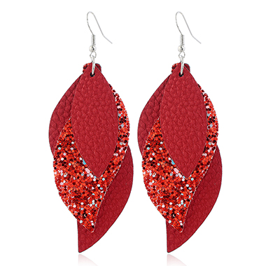 Sequin Detail Leaf Shape Coral Red Earrings