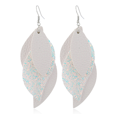 Layered Sequin Detail Faux Leather Earrings for Women