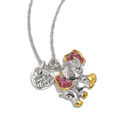 Rhinestone Silver Metal Baby Elephant Shape Necklace