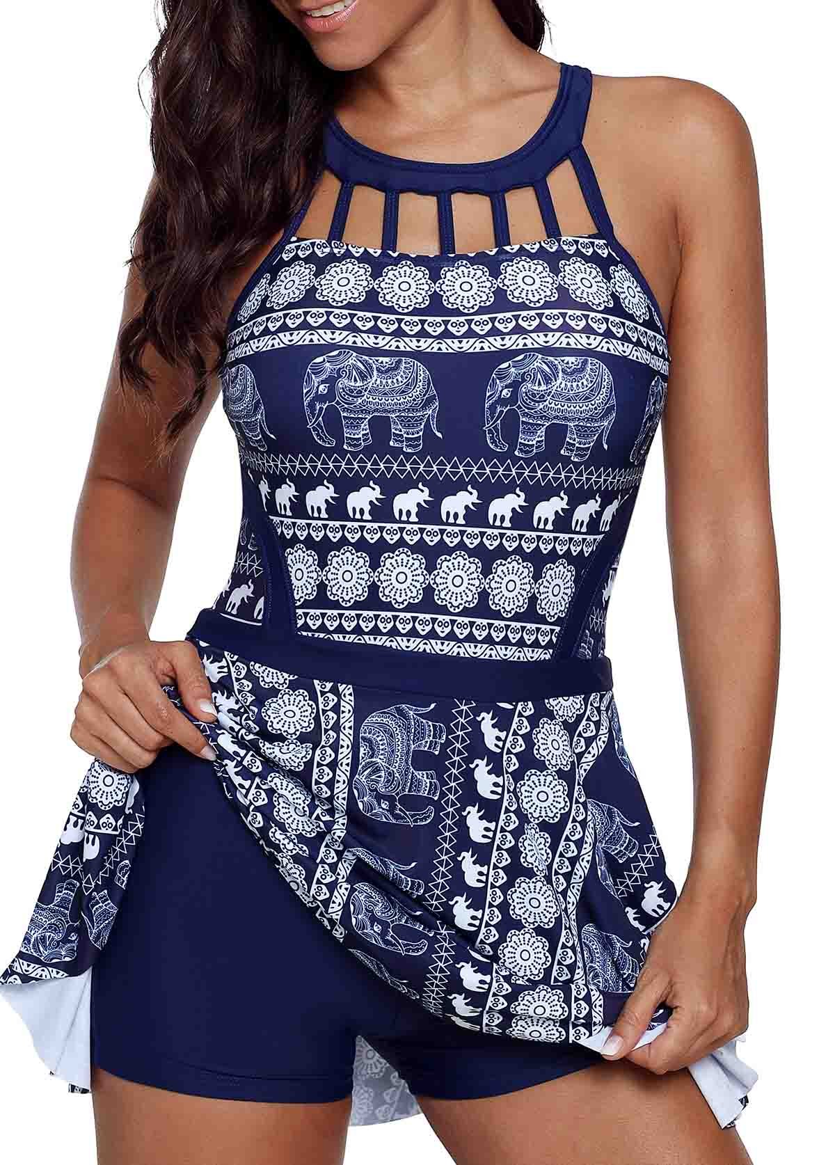 Printed Strappy Back Cage Neck Swimdress and Shorts