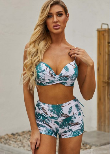 Spaghetti Strap Leaf Print Green High Waist Bikini Set