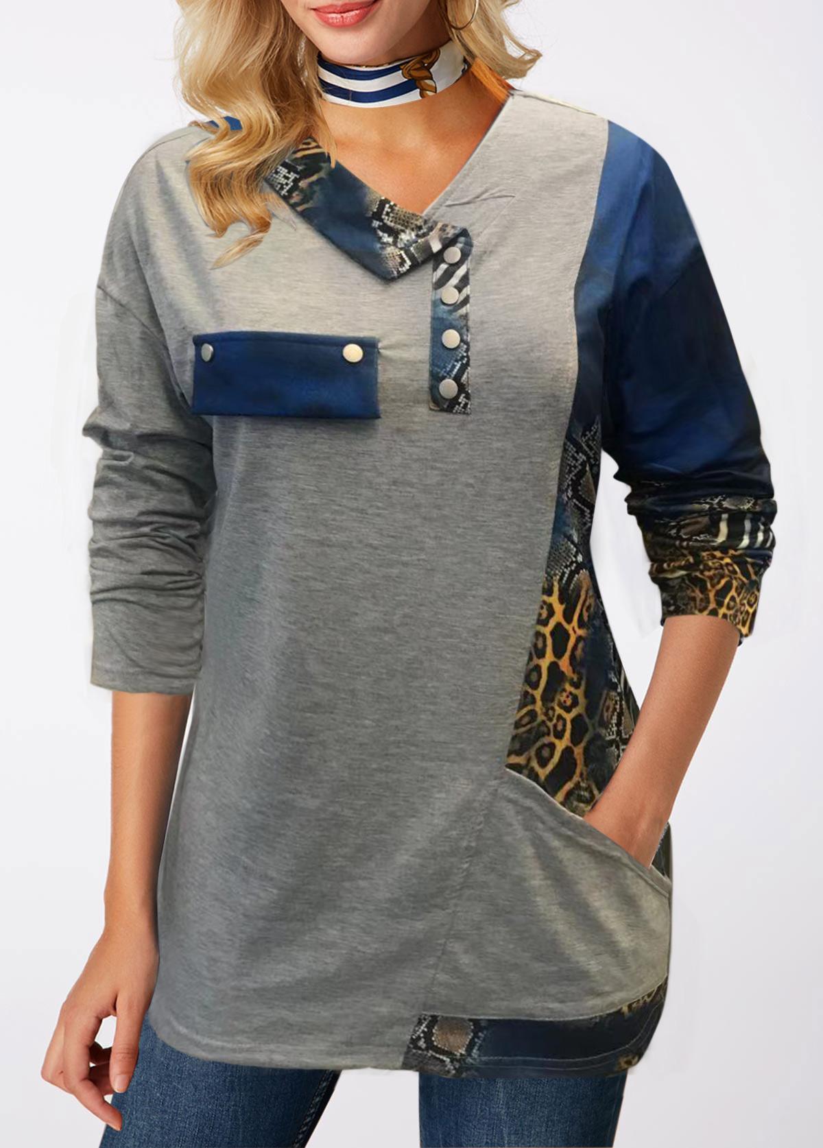 Pocket Long Sleeve Printed T Shirt
